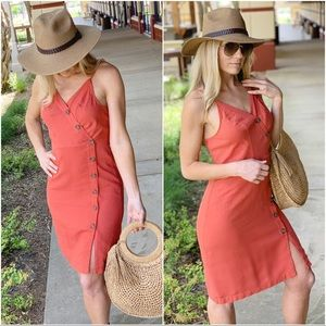Coral button trim linen dress
